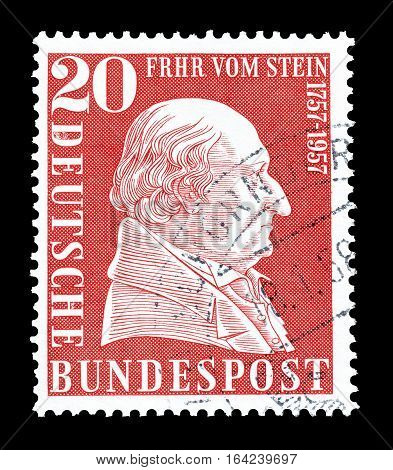 GERMANY - CIRCA 1957 : Cancelled postage stamp printed by Germany, that shows Baron vom Stein.