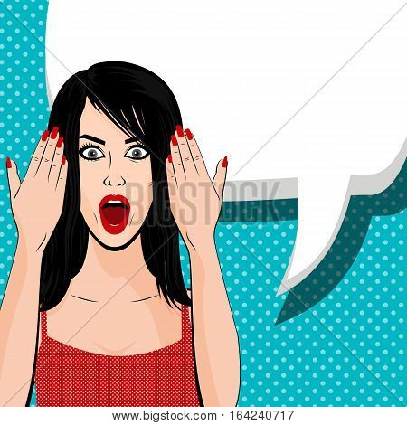 Vector illustration woman portrait. Indignant young sexy brunette girl red dress pop art background. Human emotions face expression feelings. Red lips shocked emotion empty speech bubble comic book.