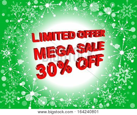 Red And Green Sale Poster With Limited Offer Mega Sale 30 Percent Off Text. Advertising Banner
