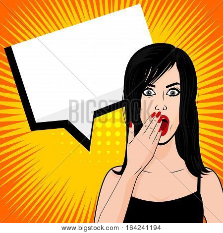 Surprised young sexy brunette girl pop art sunbeam style. Vector illustration woman portrait, red lips, shocked emotion, empty speech bubble in comic book. Human emotions face expression feelings.