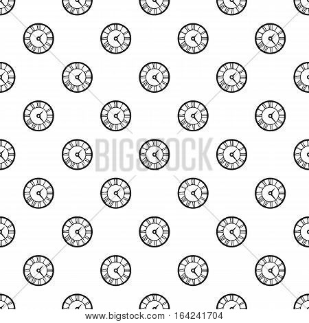 Round clock with roman numerals pattern. Simple illustration of round clock with roman numerals vector pattern for web