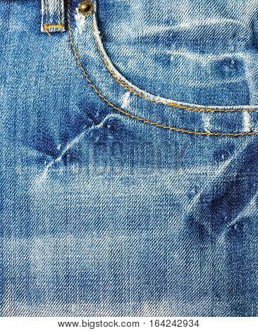 Pocket on jeans denim fabric fashion background