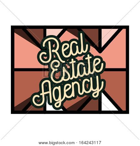 Color vintage real estate agency emblem, symbol. Logo design template
