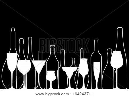 Background Bottle Vector.Alcoholic Bar Menu.Design for Party.Card with Glasses.Alcoholic Bottles Background.Wine List Design.Cocktail Party Vector.Template for Menu Card.Wine Art Ilustration.