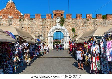 Historic City Gate Of Pisa, Tuscany, Italy