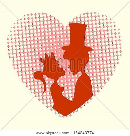 Silhouette of two lovers Prince and Princess on a background of red hearts with holes