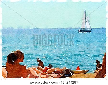 Digital watercolor painting of people on the sandy beach and a sailboat at sea in Barcelona Spain on a sunny day with space for text. Sunbathers and enjoying the sunshine at the seaside.