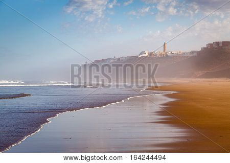 Early In The Morning After Rain On Beach Of Sidi Ifni