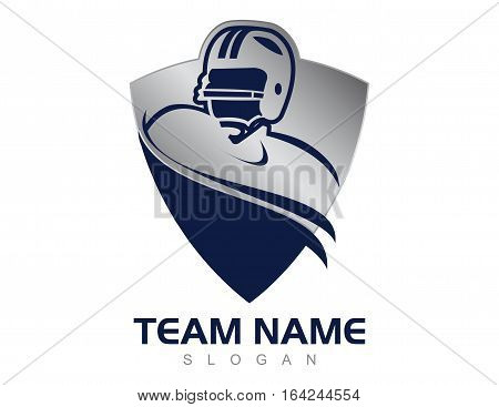 Blue shield american football logo on withe background