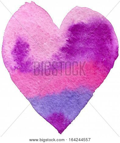 Heart, watercolor, elements for your valentines. Violet tones. Isolated on white background.