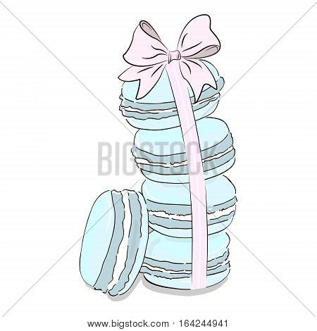 Hand drawn mint blue watercolor pile of colorful macaron cakes, french pastry dessert. Vector illustration, isolated on white background. Set off macaroon with bow. Fashion clip art blue