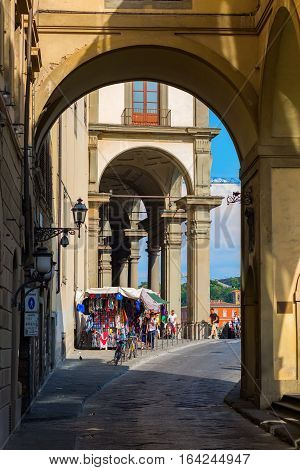 Archway Near Ponte Vecchio In Florene, Italy