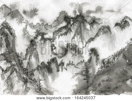 Mountains in the fog. Watercolor painting. Monochrome