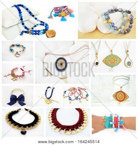 photo collage of greek jewelry - evil eye jewelry - bohemian style - gemstone jewelry - gold chain necklace