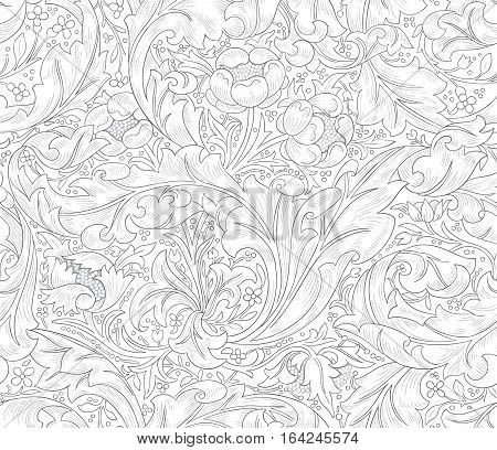 Modern fabric design pattern. Floral seamless pattern for coloring.  Modern seamless pattern for interior decoration. Wrapping paper and graphic design.  Modern seamless pattern for clothes and textile. Seamless vector illustration.