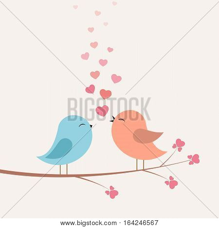Birds with love and hearts on branch. Vector illustration on light background.