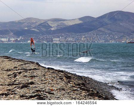 Kitesurfing in Tsemess bay. Autumn, November. Novorossiysk, Russia poster