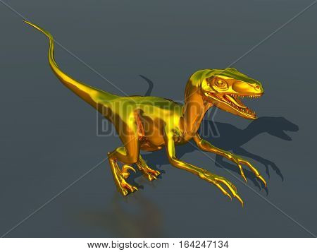 Computer generated 3D illustration with a golden Velociraptor