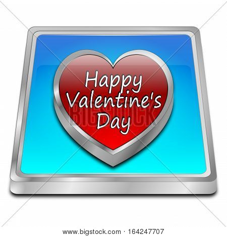 decorative blue Happy Valentine's Day button - 3d illustration