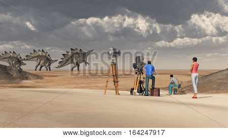 Computer generated 3D illustration with a film crew and the dinosaur Stegosaurus