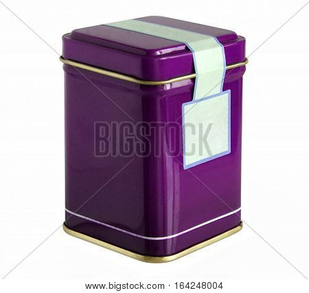 Purple metal packaging tin or box for tea coffee dry products with blank label isolated on a white background