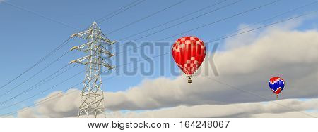 Computer generated 3D illustration with hot air balloons and overhead power line