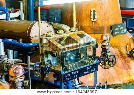 Blacford, Perthshire, Scotland, Uk, September 16, 2016 Machinery Of Tullibardine Whiskey Distillery