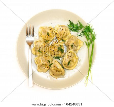 meat dumplings dish, isolated on the white background