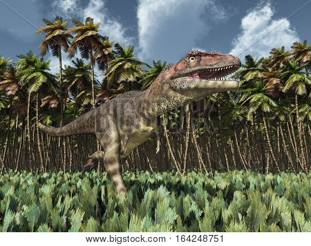 Computer generated 3D illustration with the dinosaur Mapusaurus in the jungle