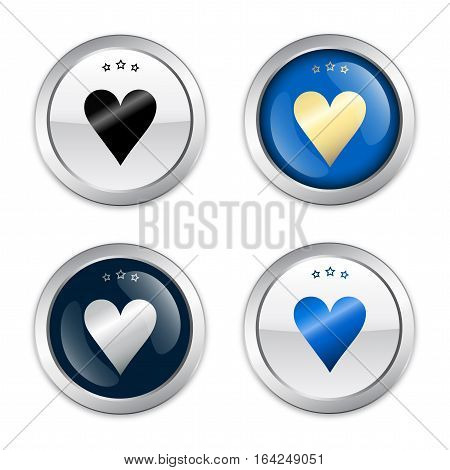 made with love seals or icons with heart symbol. Glossy silver seals or buttons with blue color.