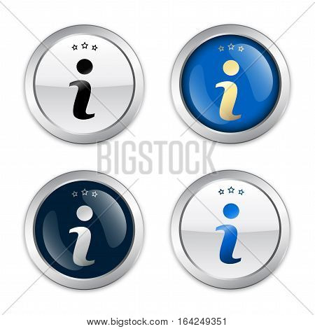 Information seals or icons with i symbol. Glossy silver seals or buttons.