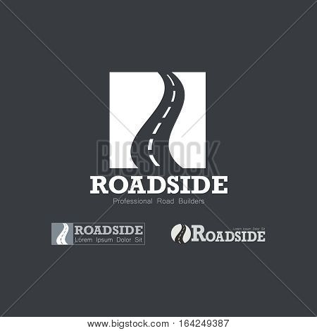 Letter R like Road type. Travel transportation and roadworks related logo design element