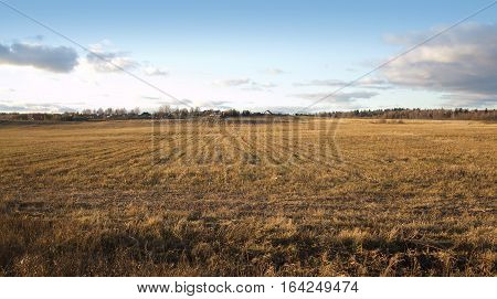 Country landscape with a field and a village tucked away in the background on a bright sunny autumn day in the afternoon