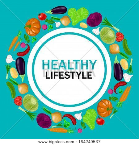 Healthy lifestyle vector illustration. Template with text and harvest of vegetables.