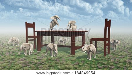 Computer generated 3D illustration with table, chairs and dwarf elephants