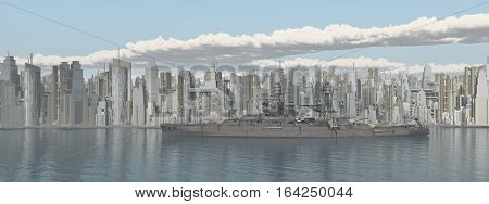 Computer generated 3D with an American warship from World War II in front of a seaside city