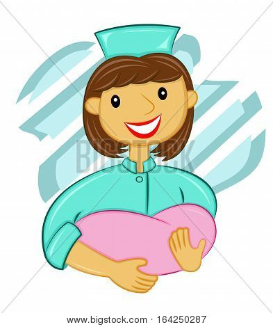 Midwife Taking Care of Baby Cartoon Vector Illustration.
