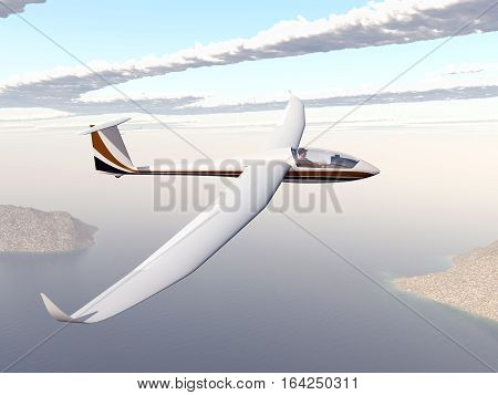 Computer generated 3D illustration with a glider over a coastal landscape