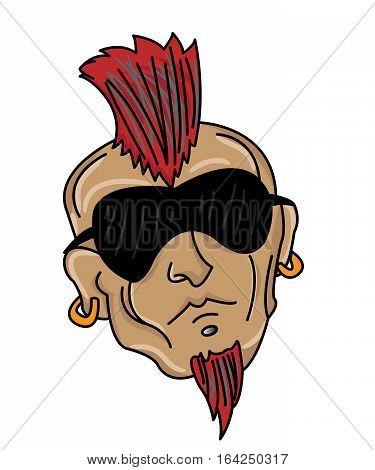 Man Head with Mohawk Hair Style Cartoon