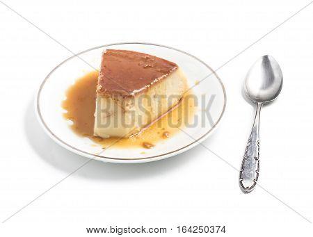 Milk Pudding. Brazilian Flan isolated on white background