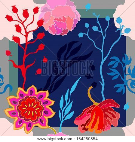 Abstract seamless vector pattern with hand drawn floral elements. 1950s-1960s motifs. Retro textile collection.
