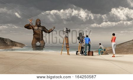 Computer generated 3D illustration with huge gorilla, woman in his hand and film crew