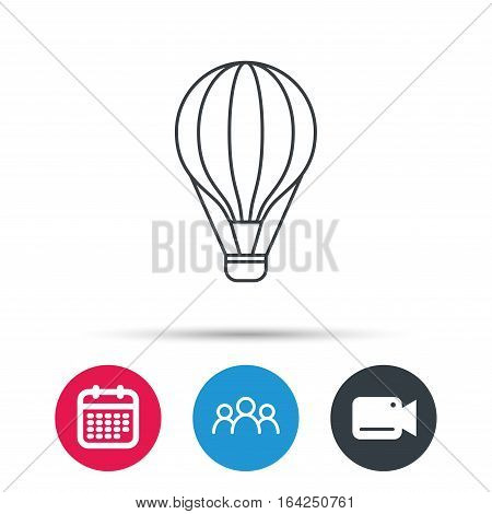 Air balloon icon. Fly transport sign. Airship travel symbol. Group of people, video cam and calendar icons. Vector