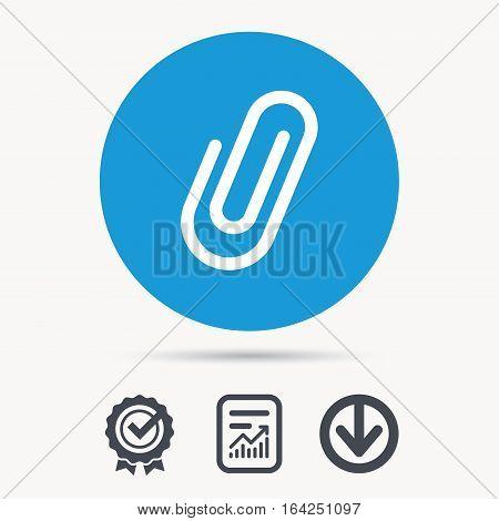 Attachment icon. Paper clip symbol. Achievement check, download and report file signs. Circle button with web icon. Vector