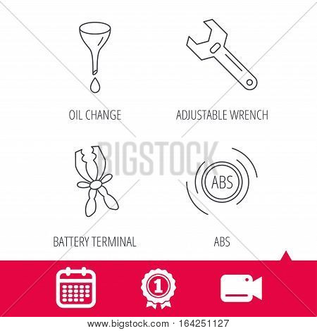 Achievement and video cam signs. Adjustable wrench, oil change and abs icons. Battery terminal linear sign. Calendar icon. Vector