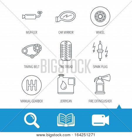 Wheel, car mirror and timing belt icons. Fire extinguisher, jerrycan and manual gearbox linear signs. Muffler, spark plug icons. Video cam, book and magnifier search icons. Vector
