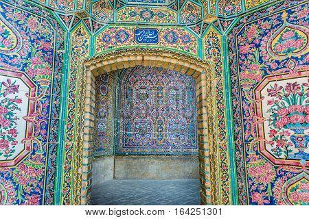 Shiraz Iran - October 23 2016: ornaments in Nasir ol Molk Mosque (Pink Mosque) in Shiraz city
