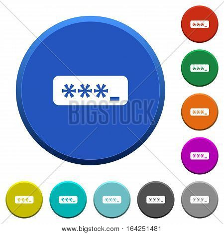 PIN code round color beveled buttons with smooth surfaces and flat white icons