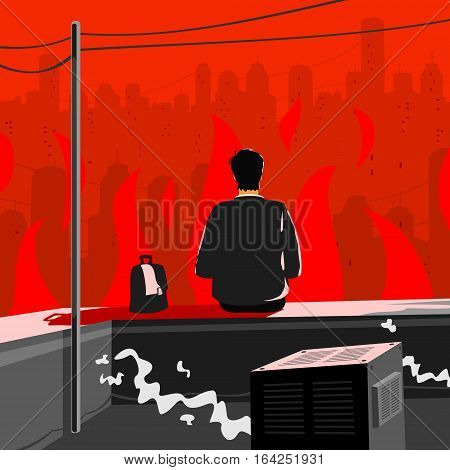 Man Sits on The Roof and Fre in the Cty. Vector Illustration