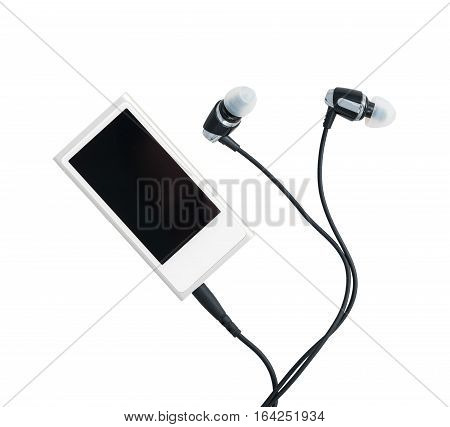 Small white portable MP3 digital music player with earbuds isolated against a white background
